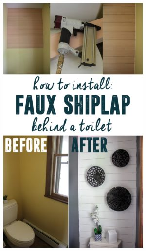 Add Faux Shiplap Behind the Toilet