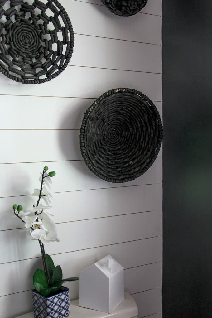 Shiplap Wall with hanging baskets