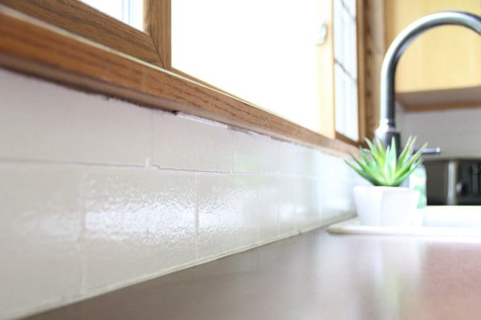 how to paint a tile backsplash bright green door