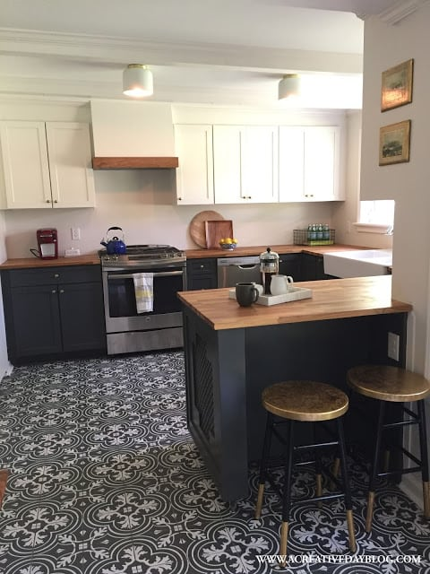 Black and White Cement Tile in Kitchen