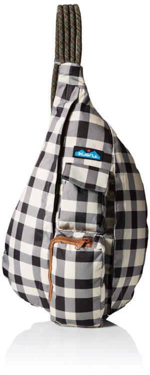 Black and White Plaid Rope Bag