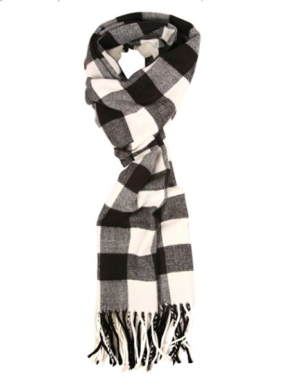 Plaid Black and White Scarf