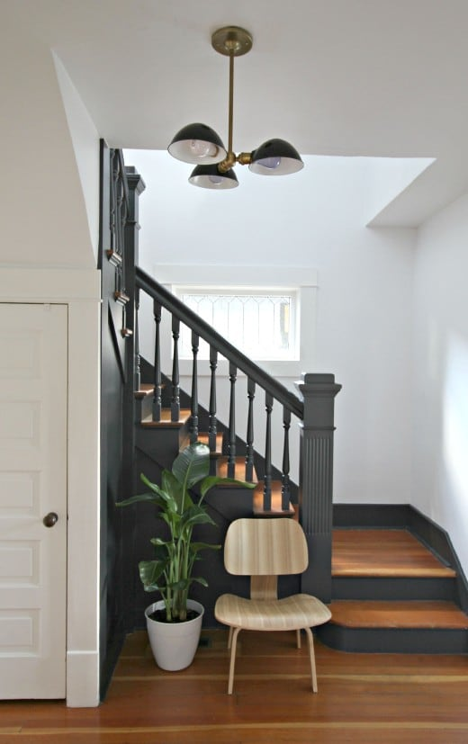 Painting Foyer Stairs : Painted staircases black vs white bright green door