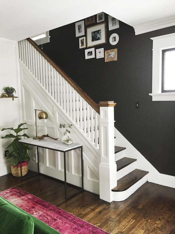 Black Wall Next to Stairs
