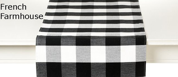 Black and White Plaid Table Runner
