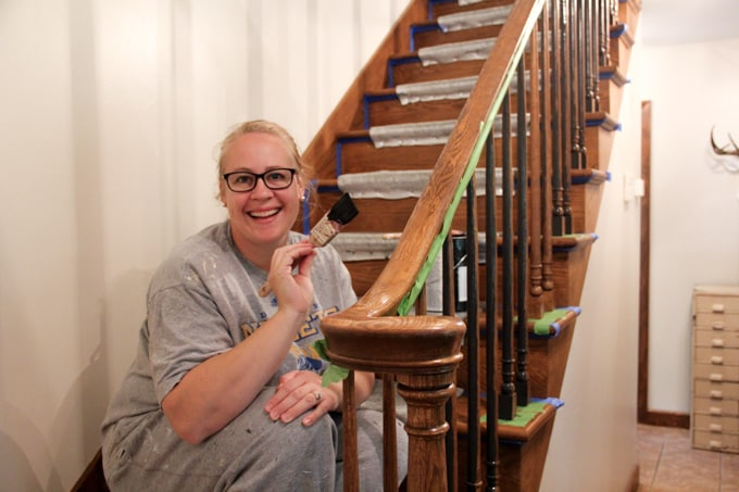 Jess McGurn Painting Stair Spindles