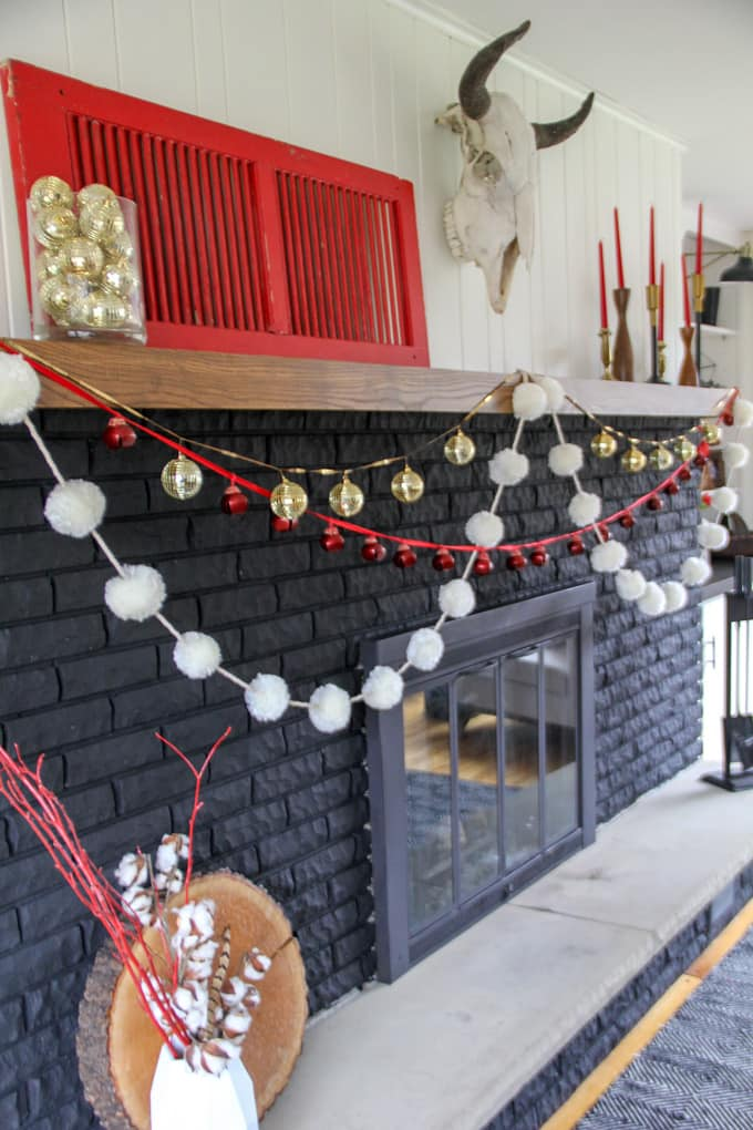 Modern Black, White, and Red, Christmas Fireplace