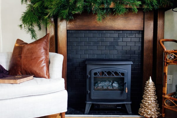 Brick Fireplace Painted Black