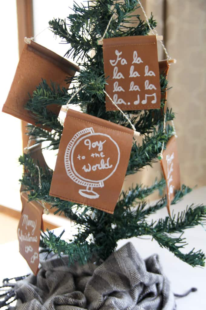 Modern Bunting Leather Ornament