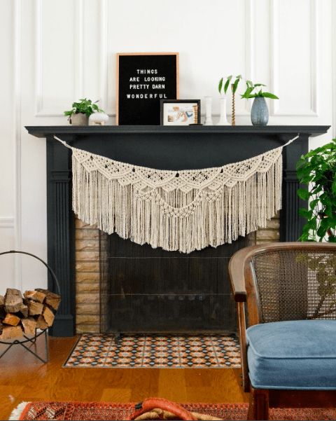 Black Fireplace with Macrame