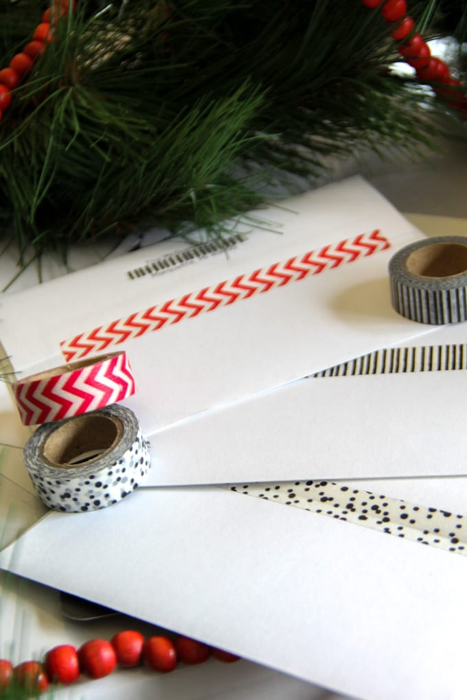 Washi Tape to Seal Christmas Cards