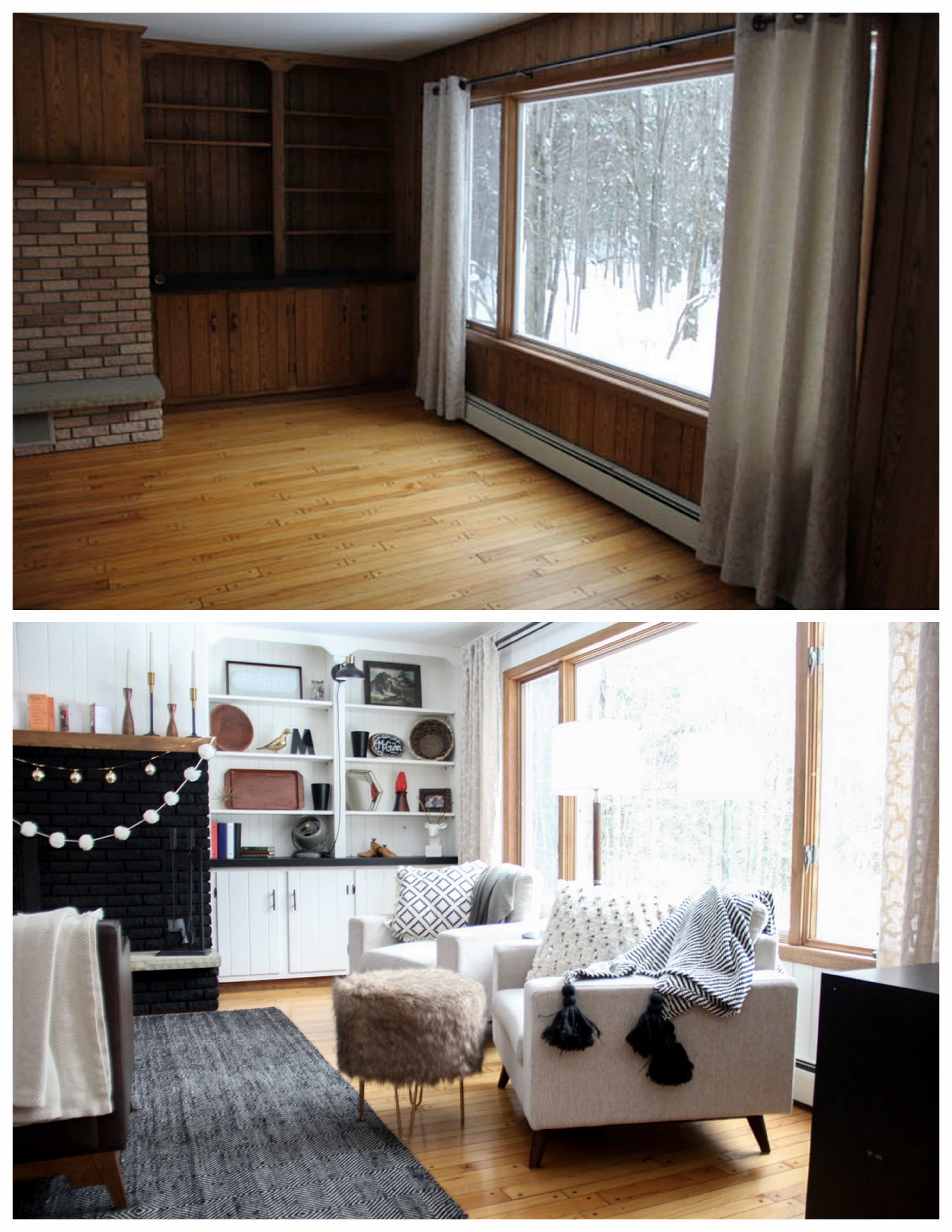 Paneled Living Room Before and After