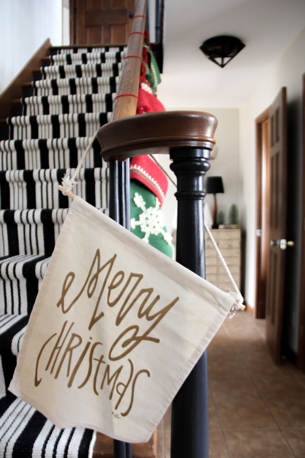 Modern Merry Christmas Stairs with Carpet Runner