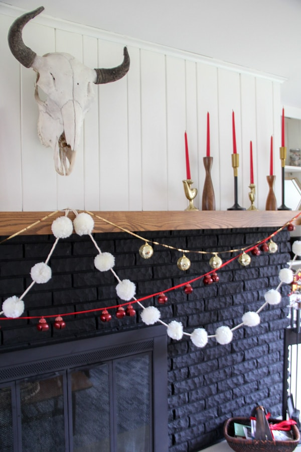 Black Fireplace with Garlands