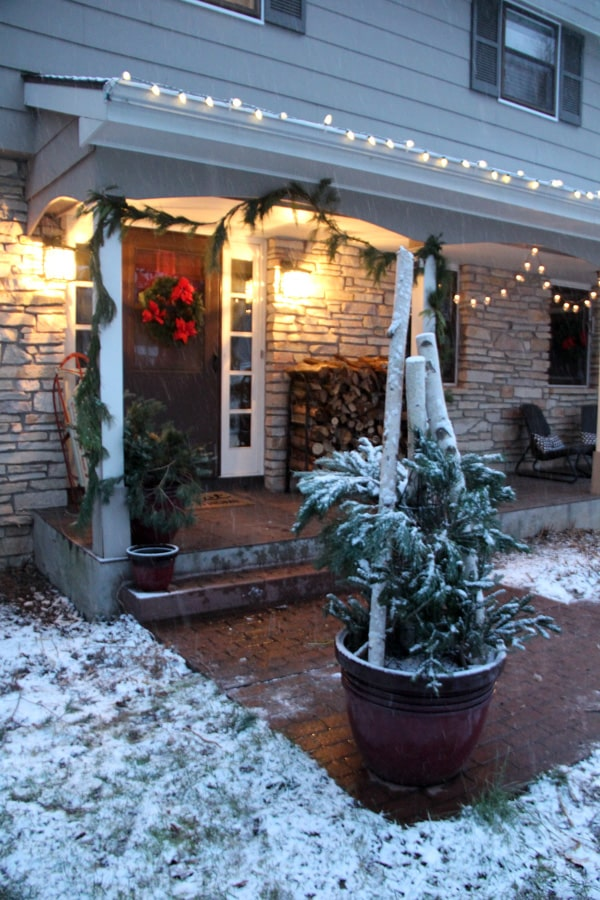 Outdoor Christmas Porch in the Snow