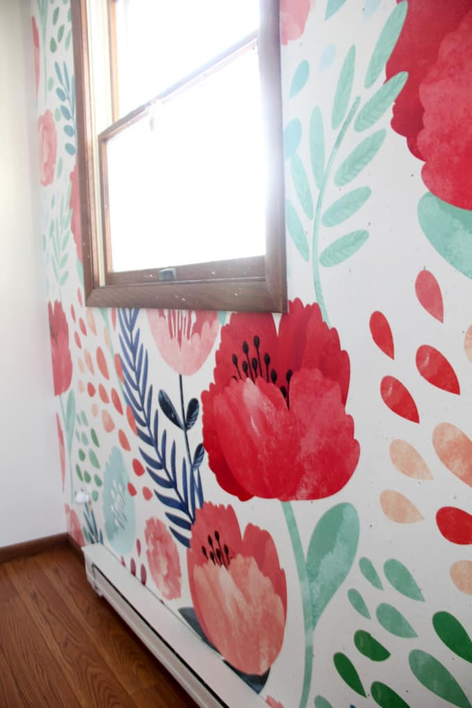 Girl Bedroom with Floral Wallpaper