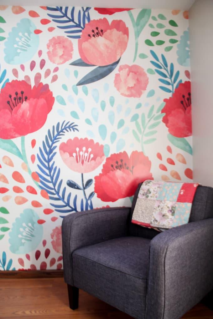 Modern Floral Wallpaper - Bright Green Door
