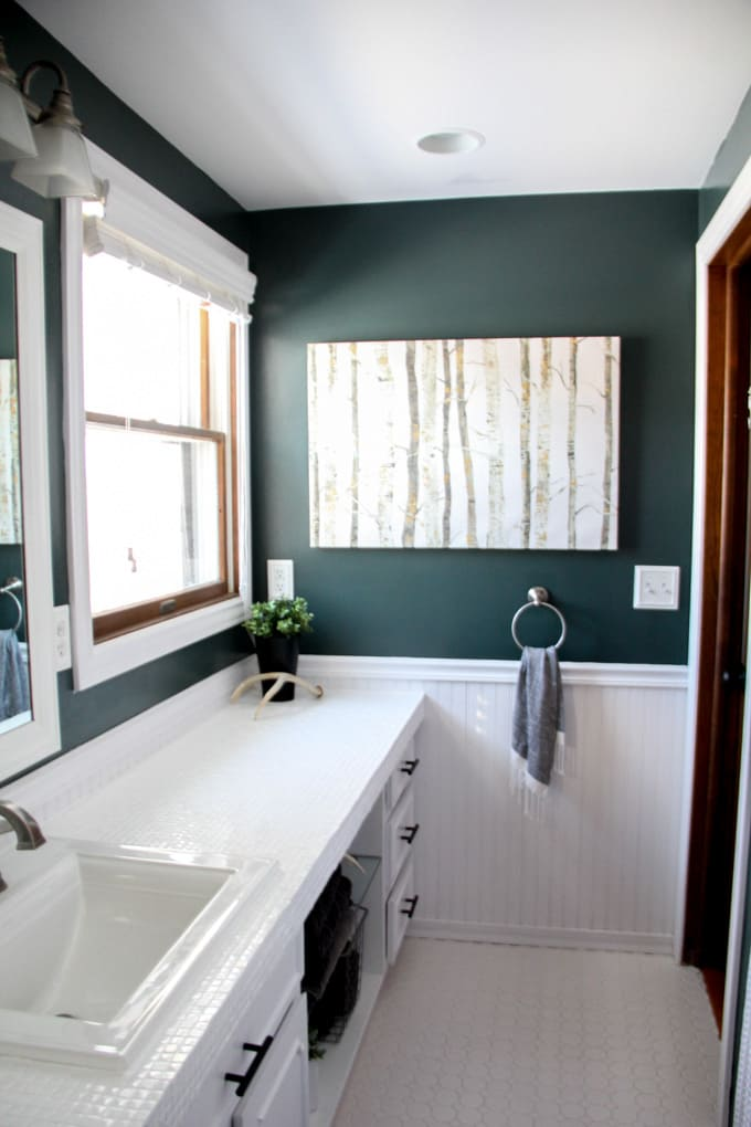 How To Paint Tile Countertops And Our Modern Bathroom Reveal