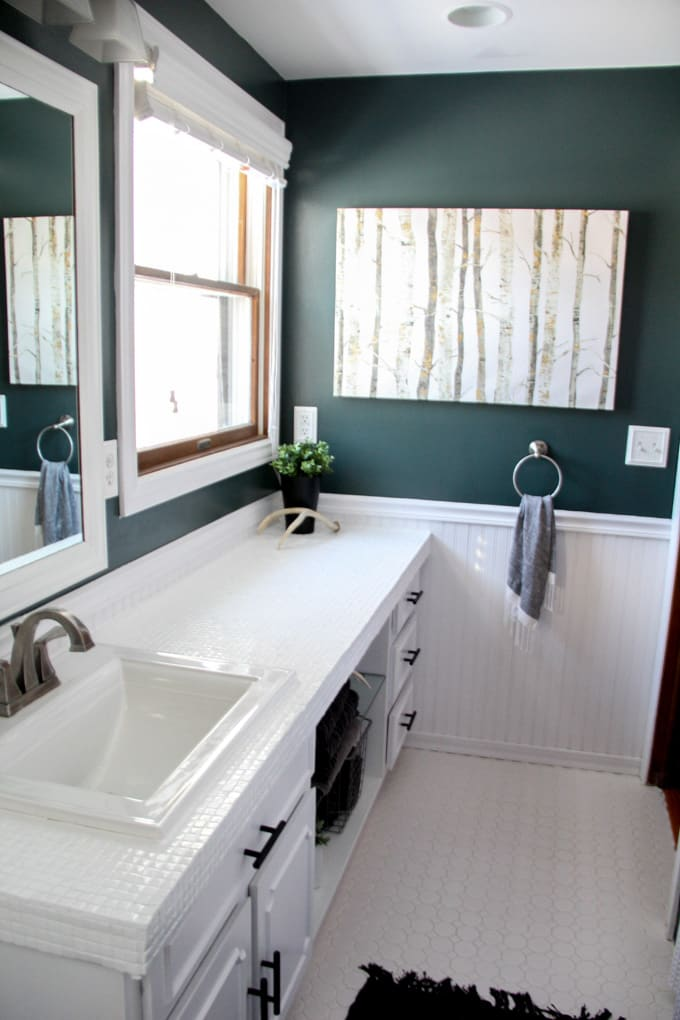 How to paint tile countertops and our modern bathroom for How to paint bathroom wall tile