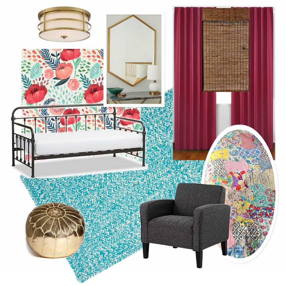 Modern Girl Bedroom with Blue Rug