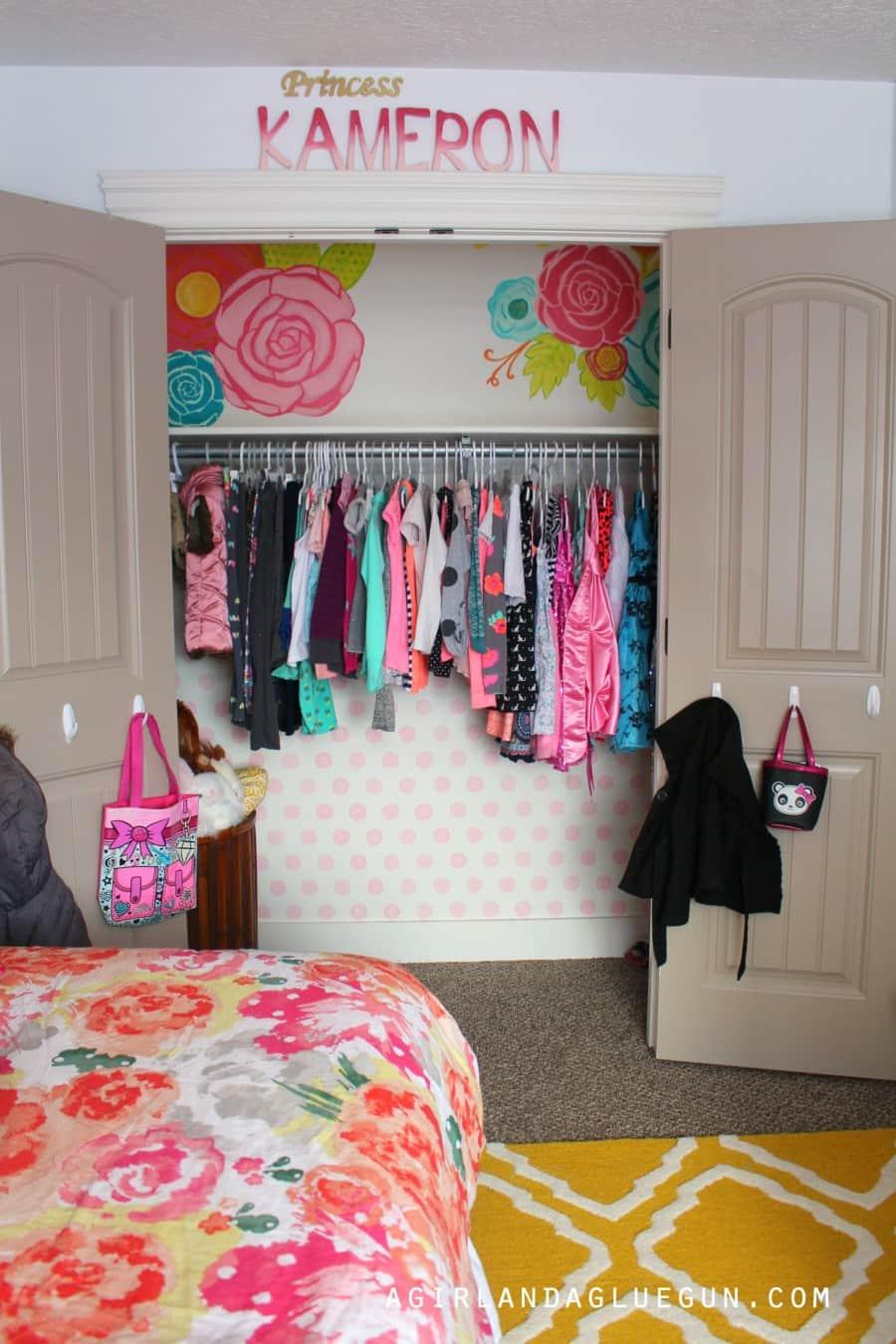 Girls Closet with Wallpaper