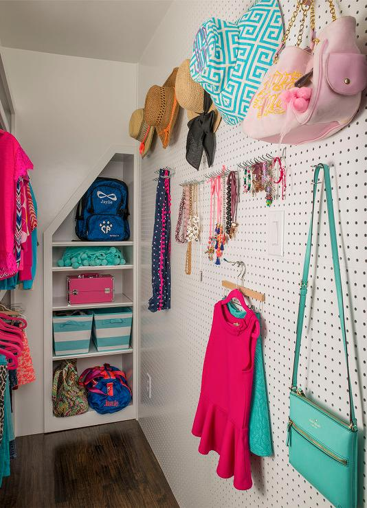 Girls Closet with Pegboard
