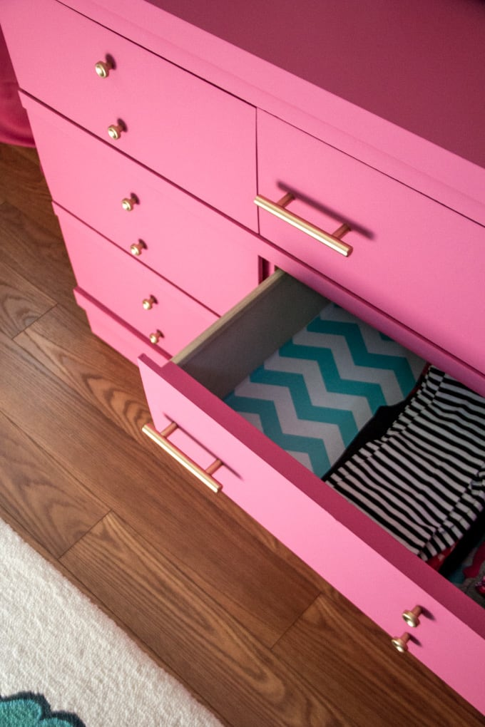 Pink Dresser with Drawer Liner