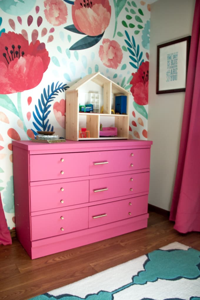 Pink Painted Dresser with Gold Hardware