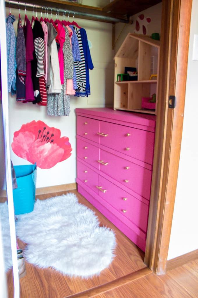 Closet with Pink Dresser