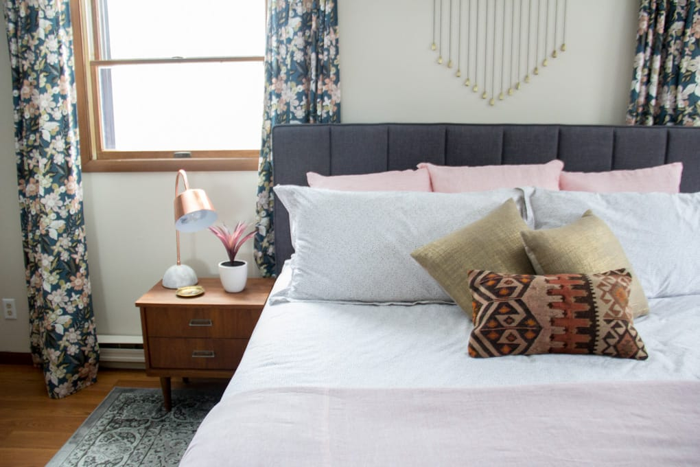 Modern Master Bedroom with White and Pink