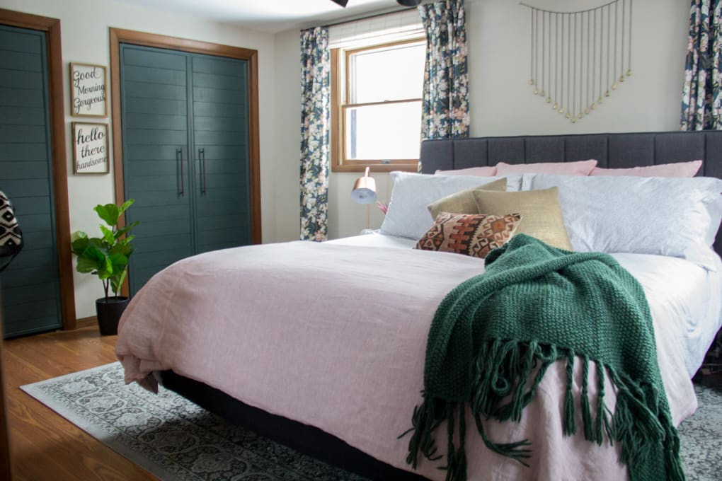Green and Pink Modern Master Bedroom