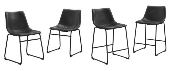 Modern Leather Chair and Stool Corodinating