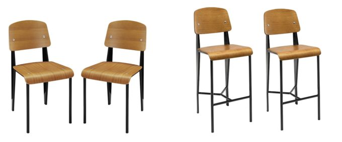 Modern Wood and Metal Chair and Stool