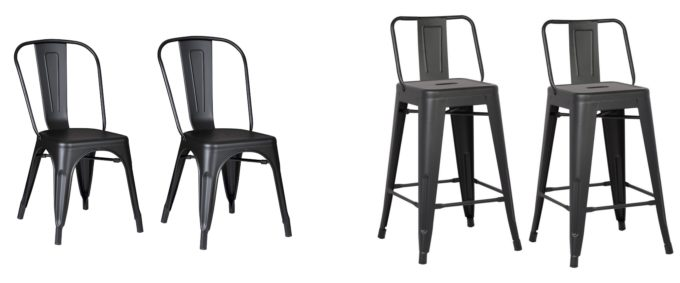 Modern Matte Black Metal Chair and Stool
