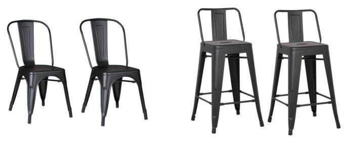 Modern Matte Black Metal Chair and Stool
