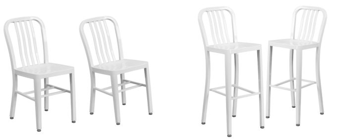 Modern White Metal Chair and Stool Coordinating