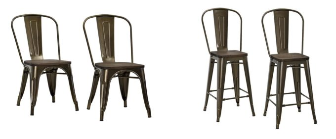 Modern Bronze Metal Chair and Stool