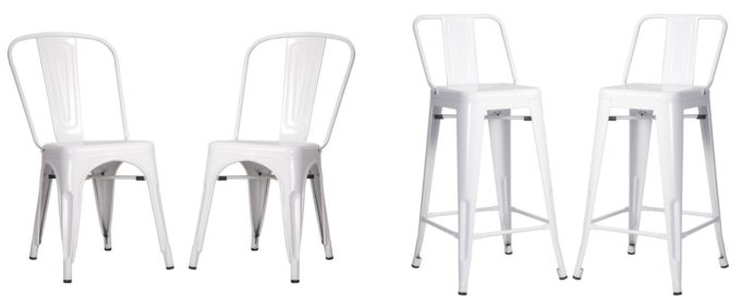 White Modern Metal Stool and Chair