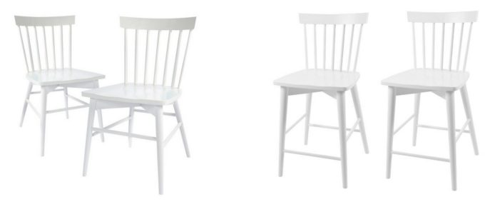 Modern White Wood Chair and Stool