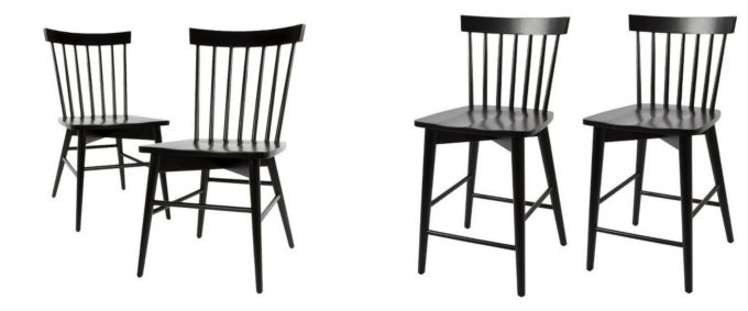 Modern Black Wood Chair and Stool