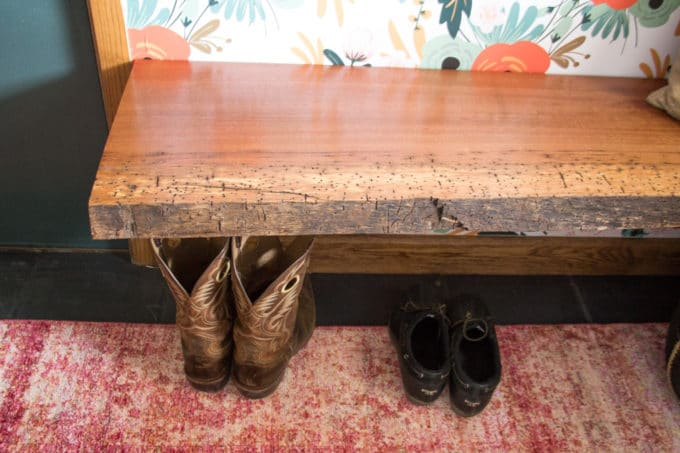 Live Edge Mudroom Bench