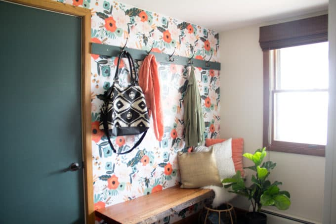 Modern Mudroom with Bench and Hooks