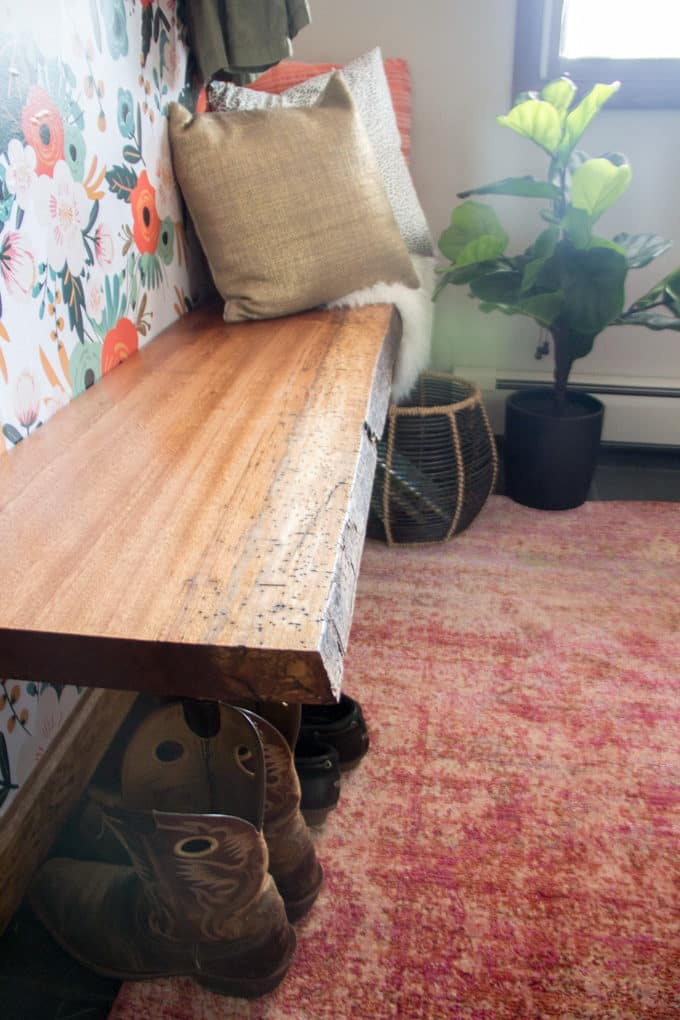 Live Edge Bench Seat in Mudroom