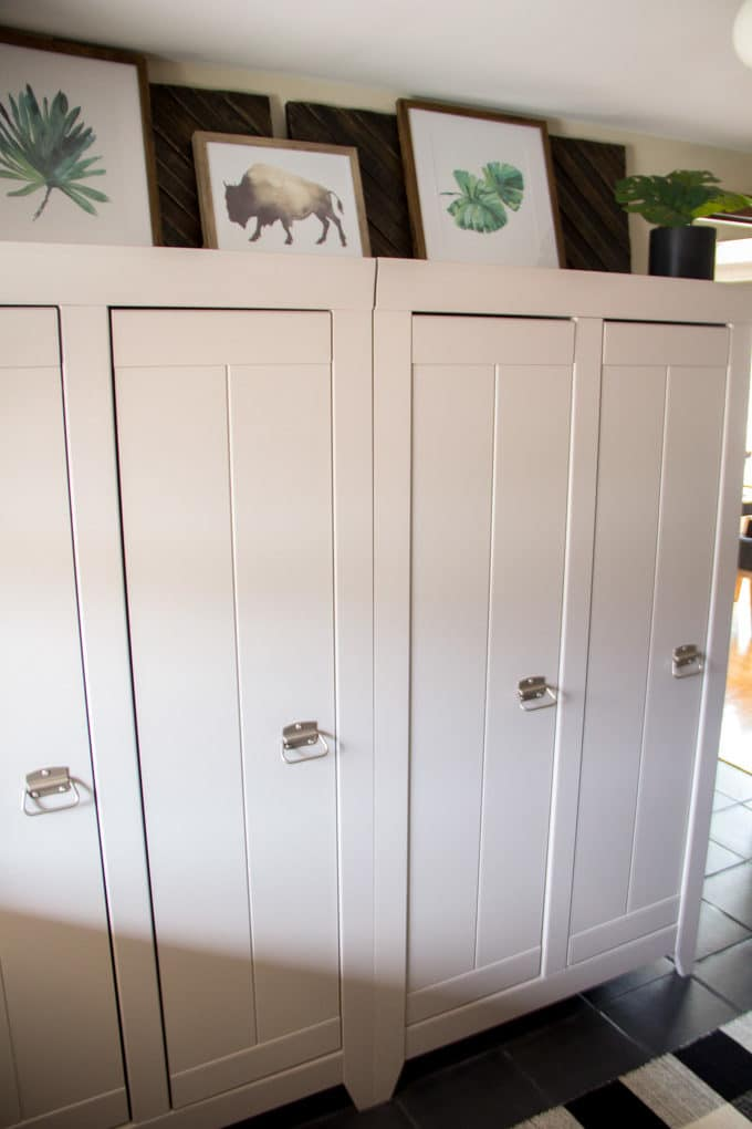 Storage Cabinets in Mudroom