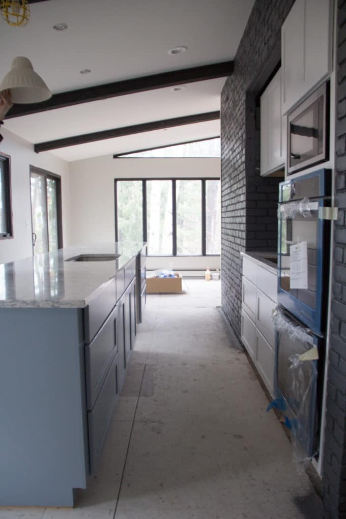 Modern Galley Kitchen with Grey and Black