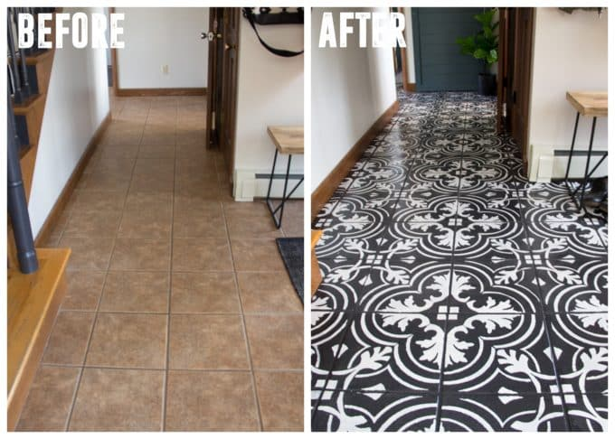 How To Diy Stenciled Faux Cement Tile Floors