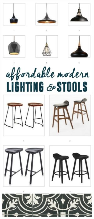 Affordable Modern Lighting and Stools