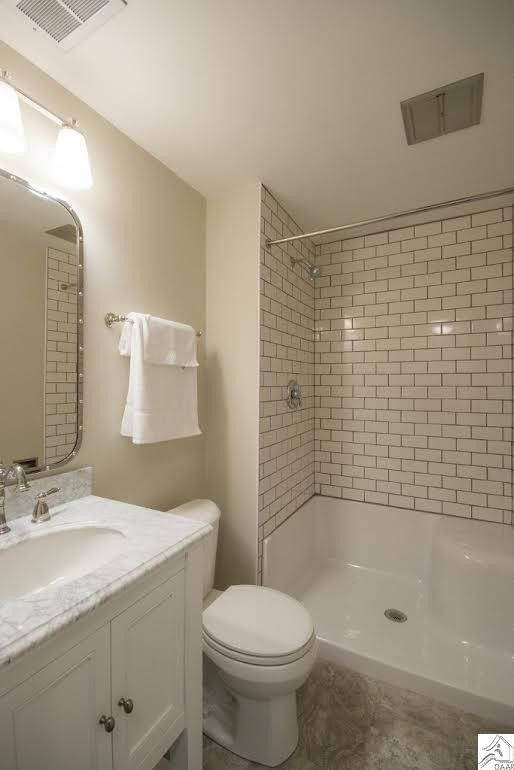 White Modern Bathroom with Subway Tile
