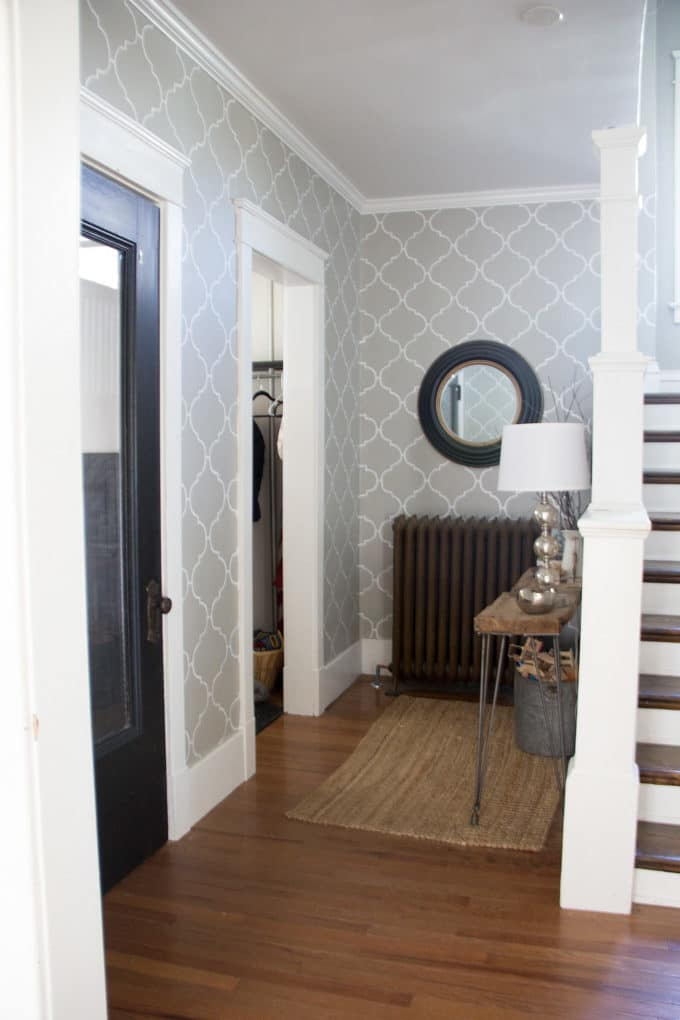 Stenciled Entryway Grey and White