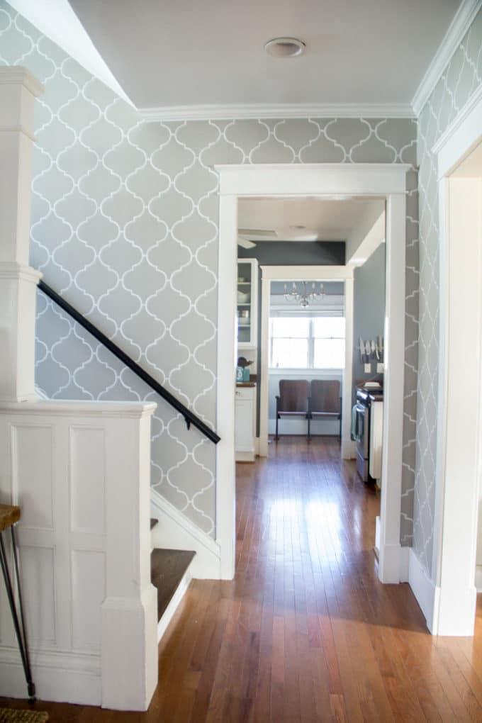 Stenciled Stair Hallway